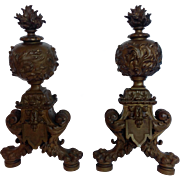 Pair of Antique Bronze Chenets French