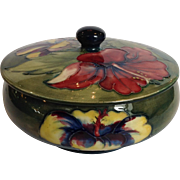 Moorcroft Hibiscus Covered Candy Dish Paper Label