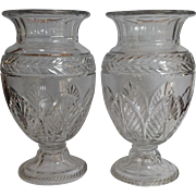 Pair Cut Glass Large Vases England Antique