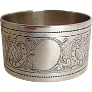 Engraved Napkin Ring 800 Silver Heavy