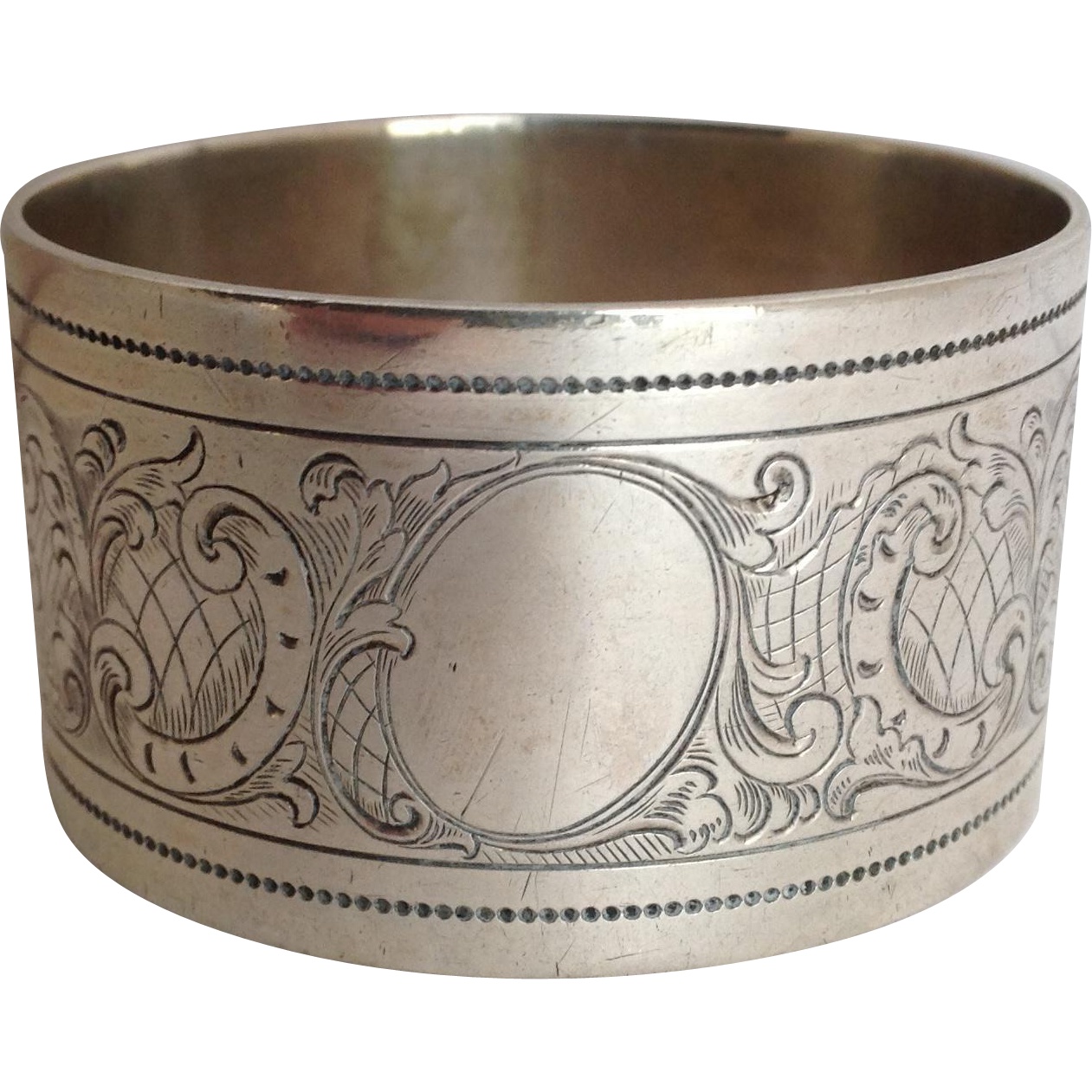 engraved napkin ring 800 silver heavy from