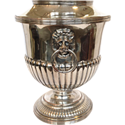 English Silver Champagne Bucket Lion Head Handles