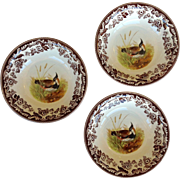 Three Spode Woodland Lapwing Dinner Bowls  8""
