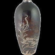 "Fox Silver Overlay on Bronze Vase Ducks in Pond 8"""