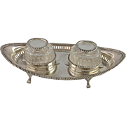 Inkstand English Sterling and Glass Circa 1908 James Swann & Son