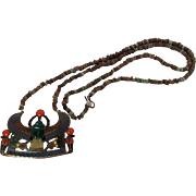 Egyptian Style Necklace with Enamel Scarab Pendant