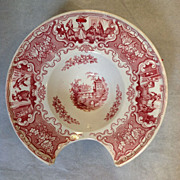 Barber Bowl Antique  Red Transferware