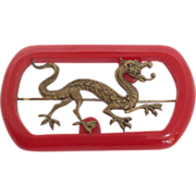 Red Bakelite with Dragon Pin