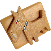 Wooden Stylized Scottie Dog Pin