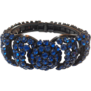 Brilliant Blue Rhinestone Hinged Bracelet 1960's
