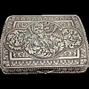 Italian Engraved Heraldic Bird 800 Silver Case