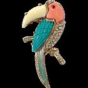 Toucan Pin With Rhinestones