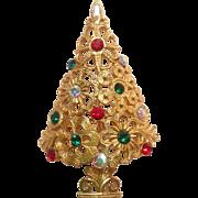 Mylu Flowers And Rhinestones Christmas Tree Pin