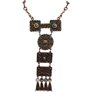 Mexican Copper Necklace With Beads Signed
