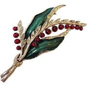 Red Berry Christmas Pin With Rhinestones