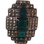 Marcasite Faux Emerald Ring Size 4.25