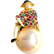 Harlequin Clown on Faux Pearl Pin