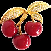 Joan Rivers Cherries And Rhinestones Pin