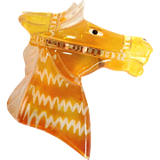 Carved Amber Lucite Horse Head Pin