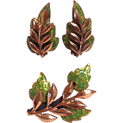 Matisse Renoir Leaf Pin and Earrings Set C.1950