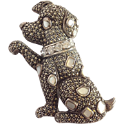 Marcasite And Mother of Pearl Dog Pin