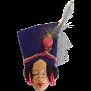 Elzak Lady With Felt Hat Face Pin