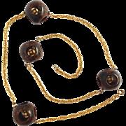 Bakelite Bead Necklace Gold Tone Chain