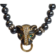 Kenneth J. Lane Panther with Pearls Necklace