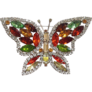 Multi-color Butterfly Brooch by Kenneth Lane