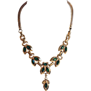 Barclay Leaf Necklace With Green Stones