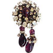 Poured Glass Brooch With Rhinestones French