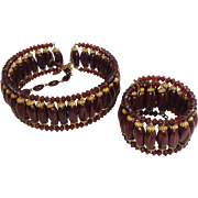 Miriam Haskell Beaded Collar And Cuff Bracelet Set 1940's