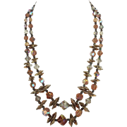 Iridescent Taupe Double Strand Beaded Necklace