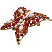 Red White and Blue Butterfly Pin