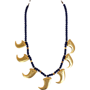 Kenneth Lane Faux Lapis and Goldtone Necklace