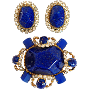 Hattie Carnegie Faux Lapis and Rhinestone Pin/Earring Set