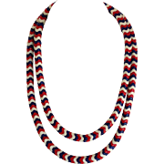 Red White And Blue Glass Bead Necklace C. 1960's