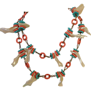 "Miriam Haskell Shell Necklace 28"" Natural and Painted Shells"