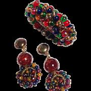 1970s Multi-color Beaded Bracelet and Earrings Set