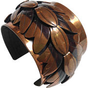 Rebajes Mid-Century Abstract Leaf Design Copper Cuff