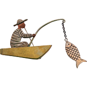 Los Castillo Mixed Metals Man in Boat Catching Fish Pin