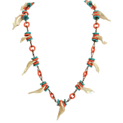 Miriam Haskell Shell Fragment, Faux Turquoise and Coral Necklace