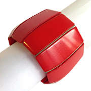 Extra-wide Red Plastic Stretch Bracelet
