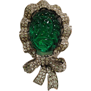 Cadoro Poured Green Glass And Clear Rhinestone Pin