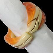 Lucite Bangle Leaf Design Orange and Cream