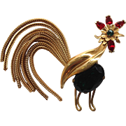 Napier Rooster Brooch with Movable Chain Tail
