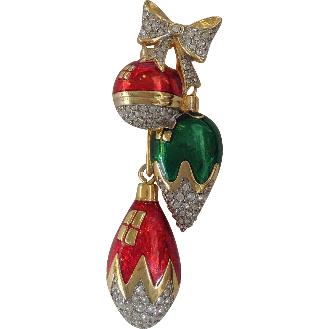 Swarovski hanging christmas decorations pin from antiquesofriveroaks on ruby lane - Hanging christmas ornaments ...
