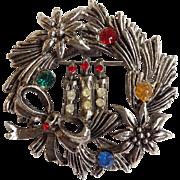 Rare Beatrix Wreath and Candles Christmas Pin