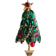 Christmas Tree Pin Dangling Beads Circa 1960's