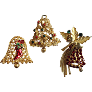 Vintage Christmas Bells Group of  Two Pins And Pendant
